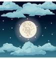 big moon night sky stars clouds vector image