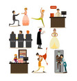 set of opera concept icons flat style vector image