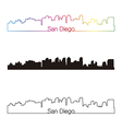 San Diego skyline linear style with rainbow vector image vector image