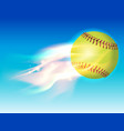 softball on fire in the sky vector image