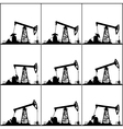Different Positions Working Oil Pumps vector image