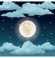 big moon night sky stars clouds vector image