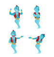 blue giant genie character set vector image