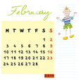 february 2014 kids calendar vector image