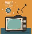 movie night card televison device vintage vector image