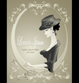 Retro Girl in hat with flowers in frame vector image