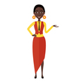 Presenting and smiling african young woman vector image