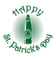 beer bottle with clover leaf st patricks day vector image