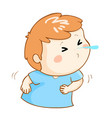 ill boy sneezing cartoon vector image