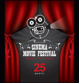 cinema poster with red curtains and camera vector image