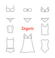 set of thin line lingerie icons vector image