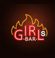 neon sign of hot girls bar vector image