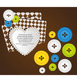 heart with clothing buttons and balloon text vector image