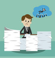 businessman working and dreaming about wins vector image