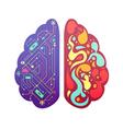 Right Left Brain Symbolic Colorful Image vector image