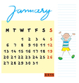 january 2014 kids calendar vector image vector image