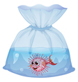 A puffer fish inside the pouch vector image vector image
