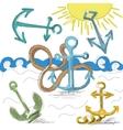 Hand drawn anchors vector image