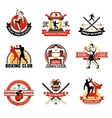 Martial Clubs Colorful Emblems vector image