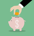 Business Hand Collect Money In Piggy Bank vector image