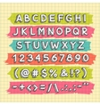 Hand Drawn Font on the Squared Paper Sheet vector image