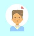 male blow kiss emotion profile icon man cartoon vector image