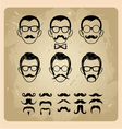 Faces with Mustaches sunglasseseyeglasses and a vector image