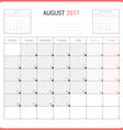 Calendar Planner for August 2017 vector image