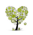 sew with love tree with buttons sketch for your vector image
