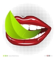 Mouth with leavef Vegetarian food vector image