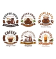Coffee shop cafe label emblems set vector image