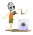 man in the gas mask and washing machine isolated vector image