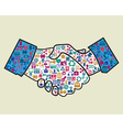 Abstract handshake of businessman vector image vector image