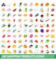 100 shopping products icons set isometric style vector image
