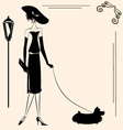 lady and dog vector image