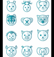 icon set animals blue vector image vector image