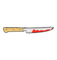 comic cartoon bloody kitchen knife vector image