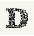 Elegant capital letter D in the style Baroque vector image