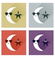 Set of flat icons with long shadow moon star vector image