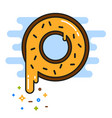 banana yellow donut with chocolate sprinkles vector image