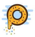 Banana yellow donut with chocolate sprinkles vector image