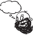 black and white bearded bald man with thought vector image