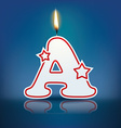 Candle letter A with flame vector image