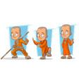 cartoon buddhist monk character set vector image