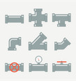 pipe fittings set vector image