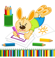 rabbit drawing pencils vector image