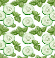 Seamless background from slices of fresh cucumber vector image