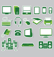 Media Icon Set Green Color vector image vector image
