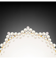 pearl jewelry border on black background vector image vector image