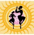 Mandala Indian dancers silhouettes vector image